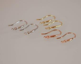 1 Pair, Ear Hook, White Gold Vermeil, Rose Gold Vermeil, Gold Vermeil Ear Hook, Ear Hook, DIY Jewelry Supplies, DIY Supplies