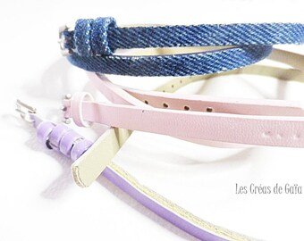 1 x bracelet faux leather and fabric, your choice