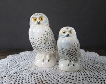 Pair of Vintage Goebel Snowy Owl Figurines