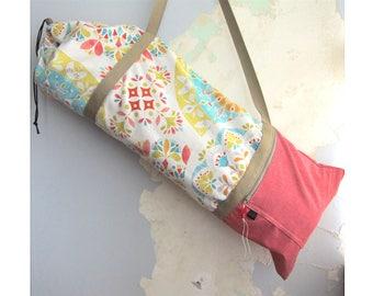 Yoga mat bag, Yoga mat carrier - Floral red, turquoise, yellow - Medium-Large