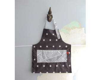 Toddler Apron with pockets - White and charcoal stars stripes