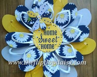 Adorable Home Sweet Home Daisies Flip Flop Wreath Beachy Coastal Door Decor