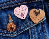 Vulva Enamel Pin Duo • Brown & Pink Heart Vulva • Limited Edition • The Vulva Gallery