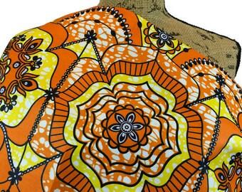 African Fabric--African Wax Print Fabric--Ankara Fabric--Dutch Wax Print--Orange & Yellow Sunburst Flowers--African Fabric by the HALF YARD
