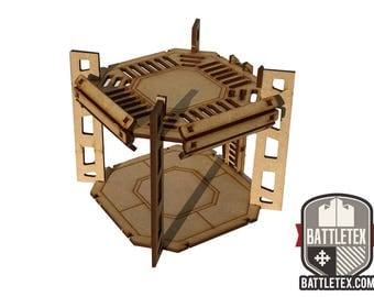 Industrial Tower C -  1 Level Rig Platform - Futuristic Necromunda Warhammer 40k Wargaming Building Scenery 28mm Scale