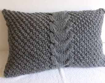 Custom Lumbar Super Cunky Charcoal Gray Decorative Cable Knit Pillow Cover, Wool Pillow Cover, Knit Pillow Case, Hand Knit Cushion Cover