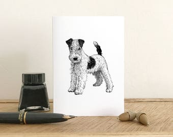 Wire Haired Fox Terrier Greeting Card - Blank card - Fine Art Giclee card - Birthday card - Thank you card - Small note card