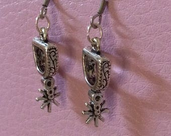 Silver Stirrup with Spurs Earrings, Western Cowgirl Jewelry Earrings Horseback riding Southwestern Jewelry hypoallergenic wires