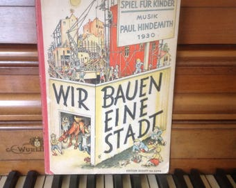 Adorable 1930 German Child Music Book, Paul Hindemith, Hardcover, Piano Score, Sweet Illustrations, German Language, Handwritten Notes