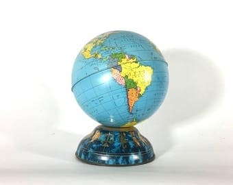 Ohio Art Tin Globe Bank, Zodiac Base, Mid Century, 1960s