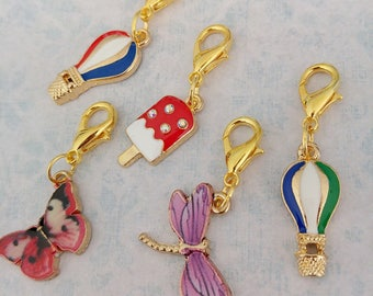 I love summer stitch markers/progress keepers with sweet enamel gold plated charms. Handmade by Kathryn of Crafternoon Treats