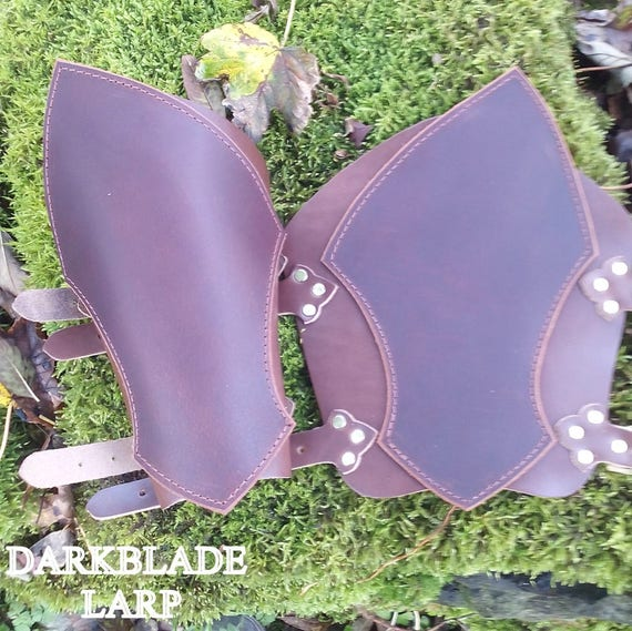 Pair Black Leather on Leather Vambraces, Bracers, Arm Guards for Costume LARP and Cosplay