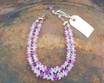 Purple Petal Beaded Necklace