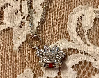 Vintage, Petite Necklace.  Miss Minnie's Ears With Bow, Encrusted With Rhinestones.  Silver Tone Chain