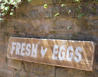 FRESH EGGS Rustic Farmhouse Sign - Reclaimed Wood - Distressed - Kitchen Sign - Chicken