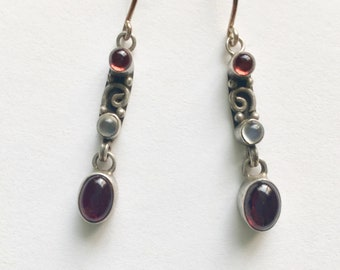 vintage sterling and stone drop earrings