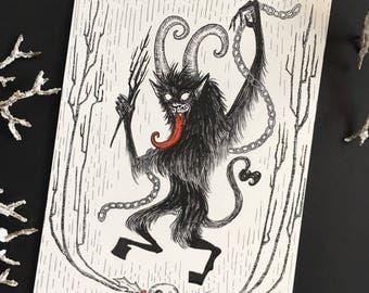 Dancing Krampus Original Ink and Watercolor Drawing
