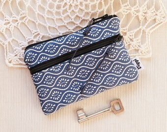 Blue Boho Wallet, Small Card Holder, Vegan Coin Purse Women and Men, Minimalistic Double Zipper Wallet for Him and Her