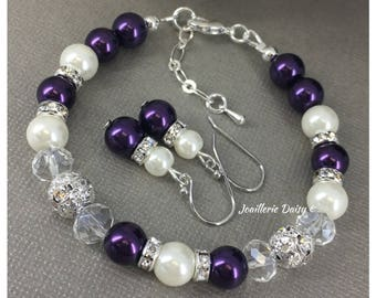 Dark Purple and Ivory Bracelet Purple Bracelet Bridesmaid Gift for Her Maid of Honor Gift Dark Purple Bracelet Bridesmaid Jewelry for Moms