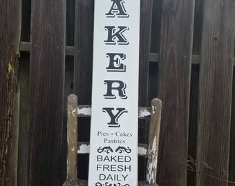 "Bakery Sign, Baked Fresh Daily Wood Sign, Pie Sign, Cake Sign, Pastries Sign, Rustic Wood Sign, Kitchen Sign, Farmhouse Sign, 36"" x 7.25"""