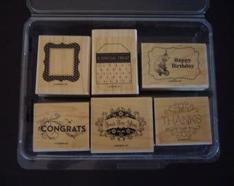 Stampin Up Rubber Stamp Set - Tagtastic Set of 6 Stamps Scrapbooking Card Making Stamps