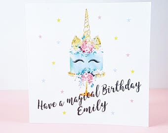 Personalised Unicorn Card - Magical Birthday Card - Unicorn Gift Card - Gold Glitter Card - Floral Unicorn Cake Card - Gifts For Her