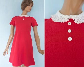 60s woman vintage Mod  dress/ red white Peter Pan collar Twiggy style mini dress/ babydoll  go-go dress/S