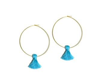 Tassel Hoops, Gold Hoops, Tassel Earring, Bridesmaid gift