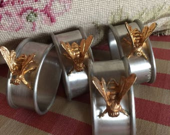 Farmhouse Pewter And Gold Bumblebee napkin rings
