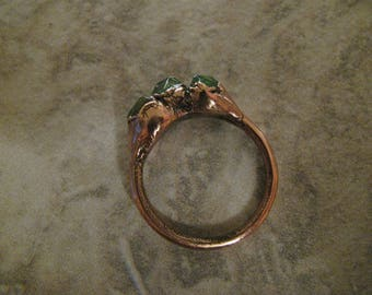 Raw Green Tourmaline and Copper Electroformed Ring, One of a Kind (OOAK), Size 7 US Toniraecreations