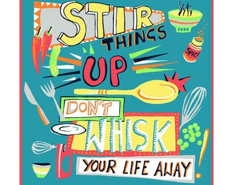 Stir things up greeting card by Kate Cooke
