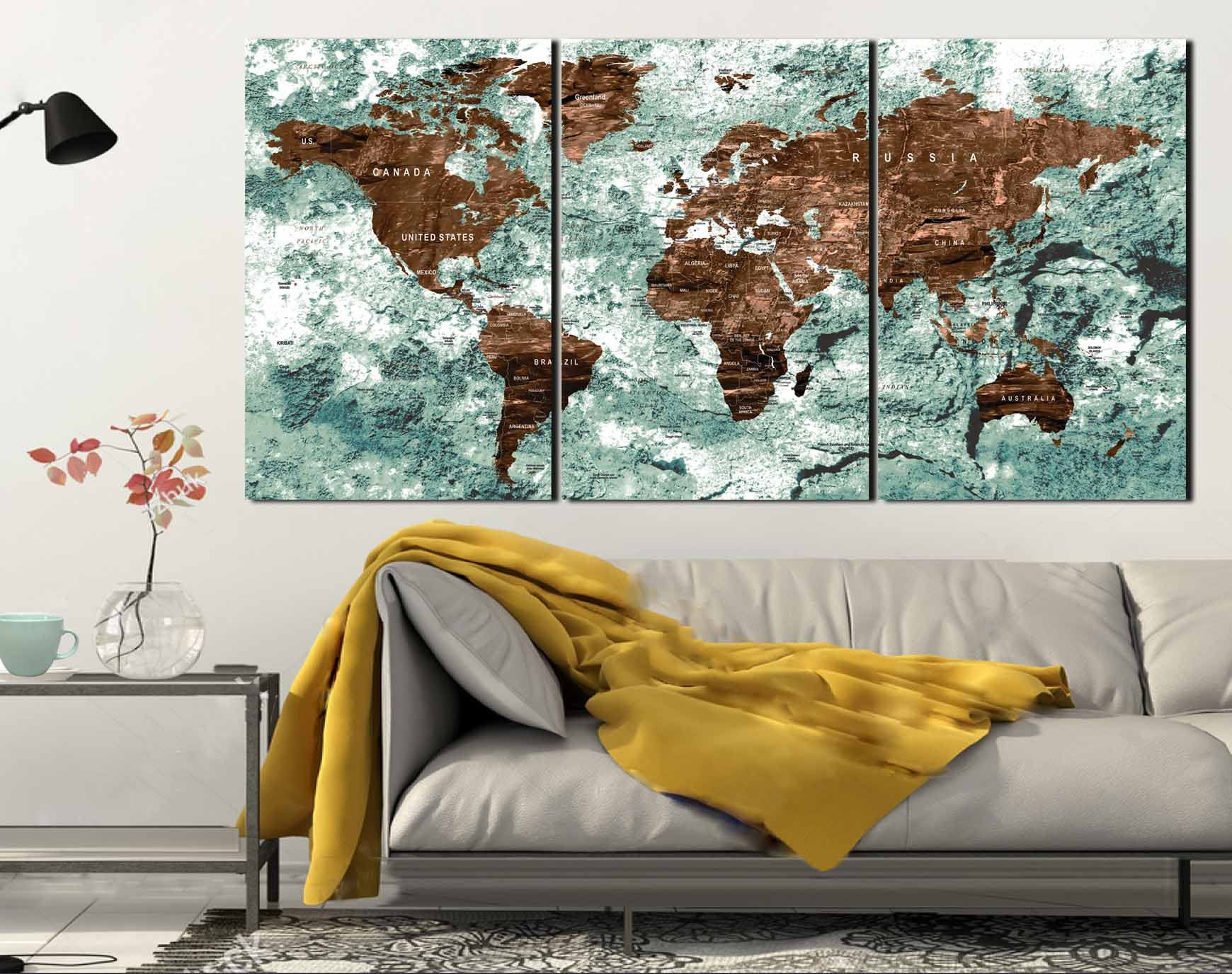 Genial World Map,World Map Wall Art,World Map Canvas,World Map Push Pin,Push Pin  Map Canvas,Push Pin World Map,Large World Map,Office Wall Art