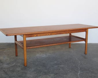 Teak Coffee Table With Shelf Wood Surfboard Coffee Table Vintage Mid  Century Modern