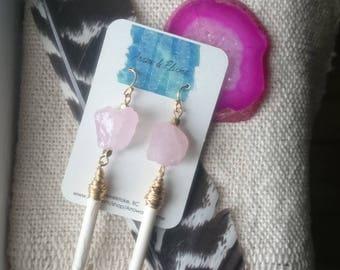ROSE AMAZON earrings- rose quartz, white turquoise, long boho earrings,