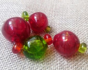 Hollow Transparent beads Glass Handmade Lampwork Beads - 4 Beads Set red green Hollow Beads