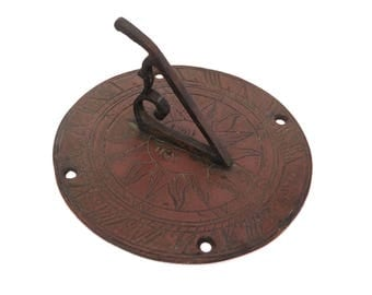 Vintage Bronze or Brass Sundal, Small Sun Garden Sundial, Gnomon Sundial, Brass Sun Clock, Brass Clock, Bronze Garden Decor, Garden Clock