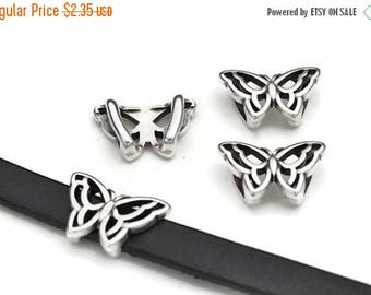 ON SALE 10MM  Butterfly Sliders - Qty. 2 - Antique Silver - Best Quality - For 10Mm Flat Cords