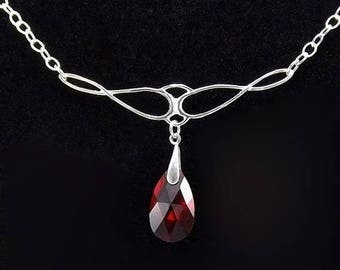 END Of SUMMER SALE Sterling Silver Necklace with Ruby Swarovski Glass Teardrop