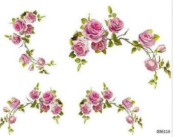 VinTaGe XL PinK CaBbaGe RoSe CoRNeRs SWaGs ShaBby DeCALs ~FuRNiTuRe SiZe~