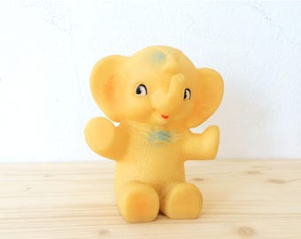 Yellow Elephant Rubber Squeaky Baby Toy Nursery Decor, Made by Combex England