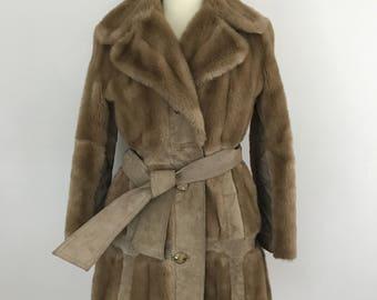 1970s suede and fake fur jacket 70s boho coat brown beige jacket festival collar striped hippy 60s Mod scooter girl UK 12 14 tie belt