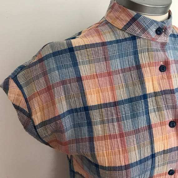 Vintage plaid dress utility shift muted tartan straight cut shirtwaister St Michael UK 10 12 sundress collarless 1980s mod