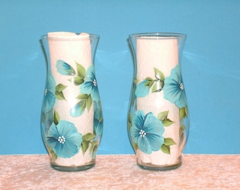 BLUE PANSY VASES, set of two
