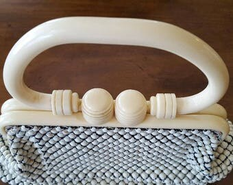 Purse Whiting & Davis Celluloid Handle Alumesh Purse 30s-40s Purse Handbag