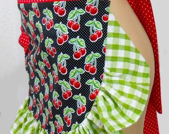 Crabby Aprons Pin up Girl Flirty Sexy Apron Retro Vintage Cherry Country Ruffles