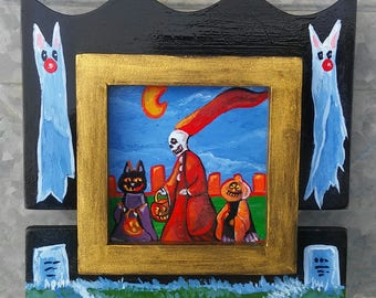 Gothic frame art,halloween cat,ghost,fantasy art,picture frame,miniature, holiday gift,goth design, skull,art,painting,clowncoffins,cute