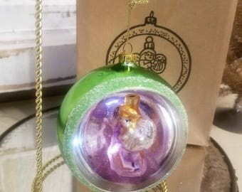 "Vintage Diorama Mercury Glass ANGEL Spinner Christmas Ornament 4"" In Box"