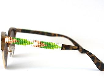 Beaded Sunglasses, Green Ombre Sunglasses, Round retro frames, Retro Sunglasses, Arrows Pattern, Unique Sunnies, Tortoise shell sunglasses