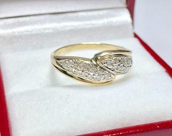 VINTAGE 10K DIAMOND RING, 10KT Yellow Gold Diamond Ring, Multistone Ring, Stackable Ring, Vintage Diamond Ring