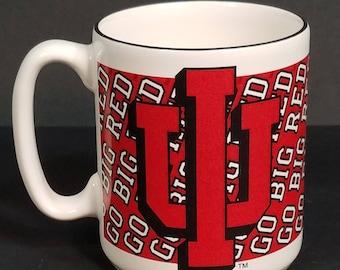 Vintage IU Indiana University Hoosiers Big Red white coffee cup mug Pfaltzgraff